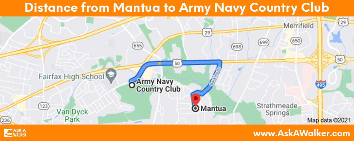 Distance from Mantua to Army Navy Country Club