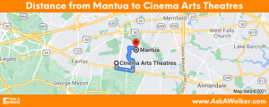Distance from Mantua to Cinema Arts Theatres