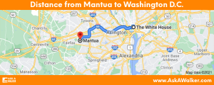 Distance from Mantua to Washington D.C.