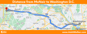 Distance from McNair to Washington D.C.