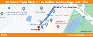 Distance from McNair to Dulles Technology Corridor