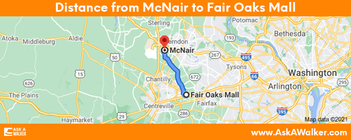 Distance from McNair to Fair Oaks Mall