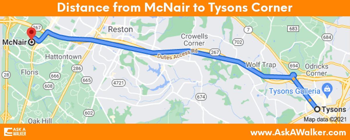 Distance from McNair to Tysons Corner