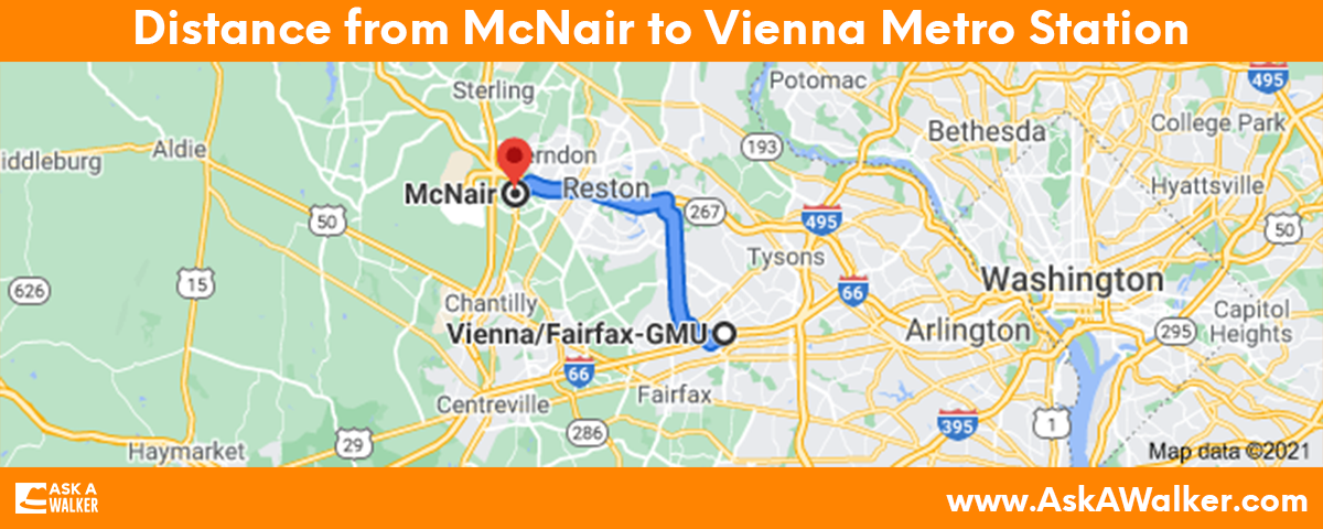 Distance from McNair to Vienna Metro Station