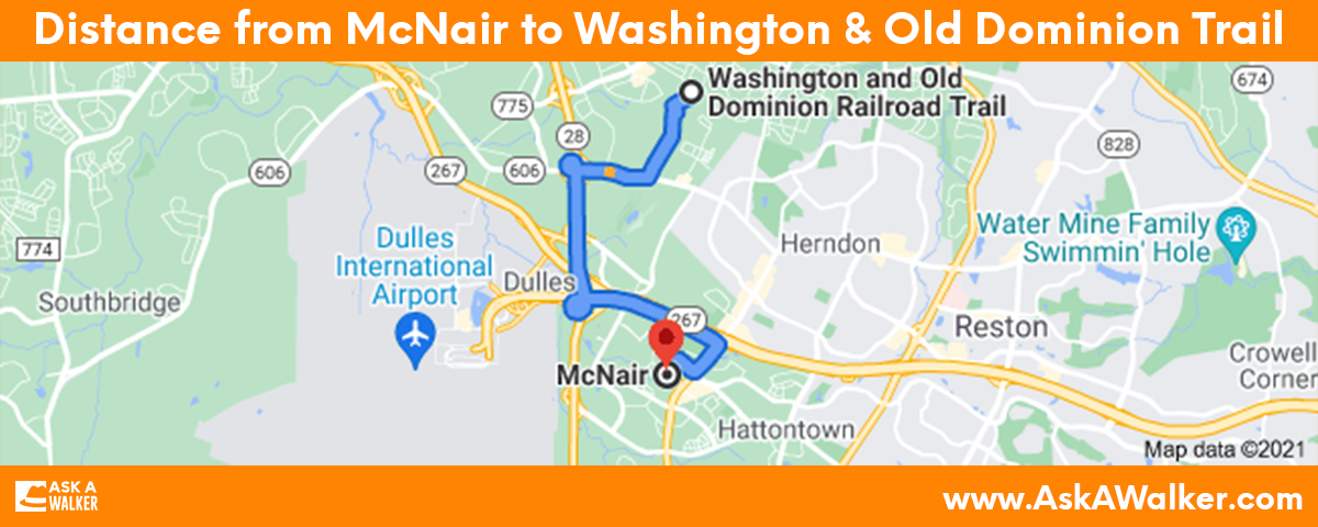 Distance from McNair to Washington and Old Dominion Trail