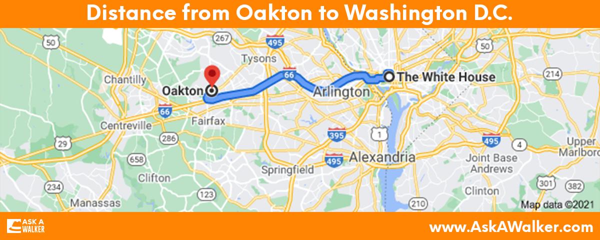 Distance from Oakton to Washington D.C.