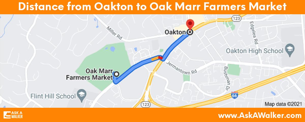Distance from Oakton to Oak Marr Farmers Market