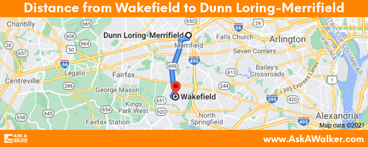 Distance from Wakefield to Dunn Loring Merrifield