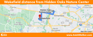 Distance from Wakefield to Hidden Oaks Nature Center
