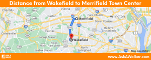 Distance from Wakefield to Merrifield Town Center