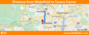 Distance from Wakefield to Tysons Corner