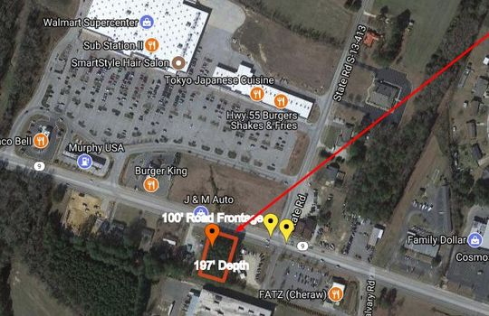 Highway 9 Cheraw SC Commercial Lot AERIAL PIC