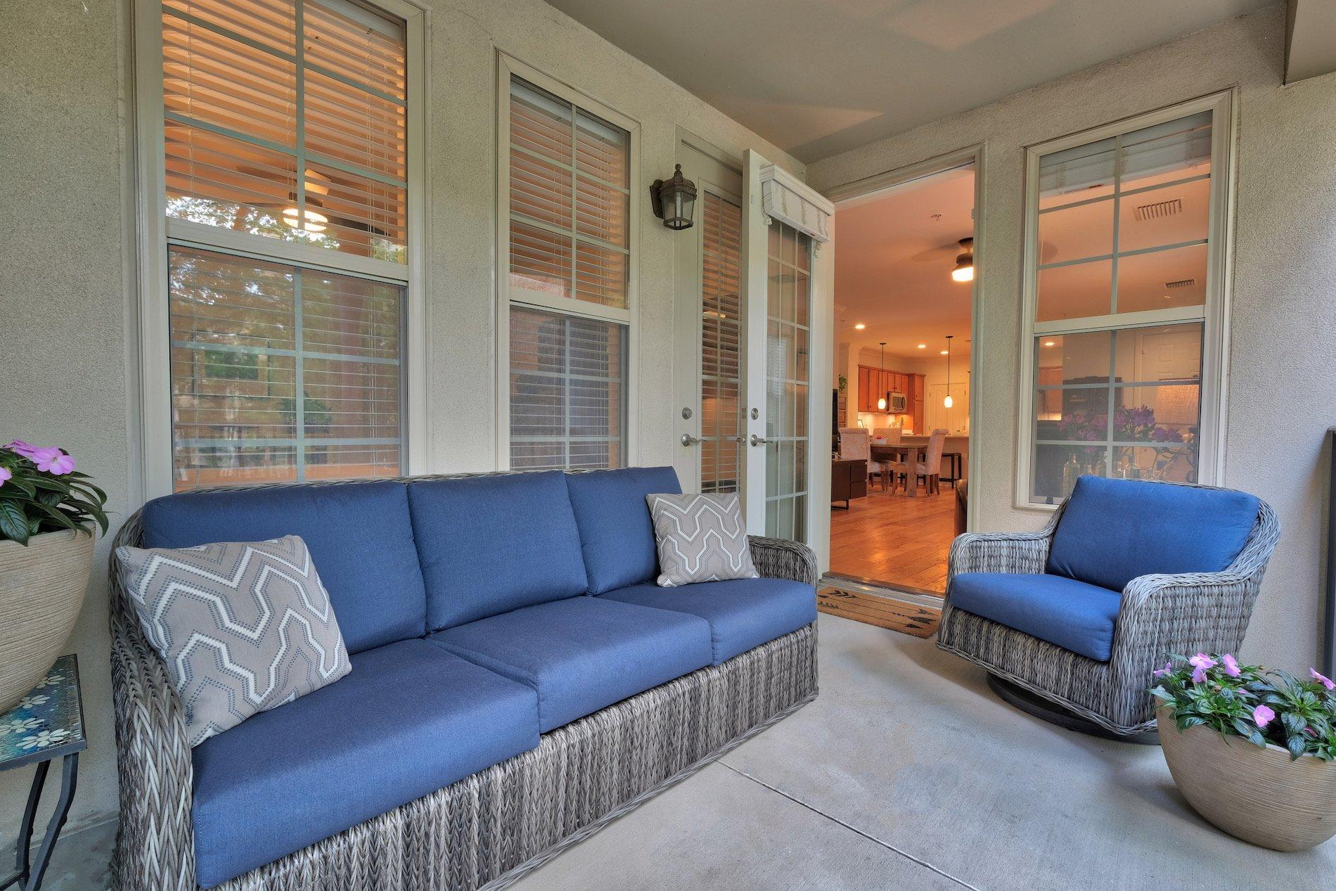 Covered porch, blue, wicker, patio furniture