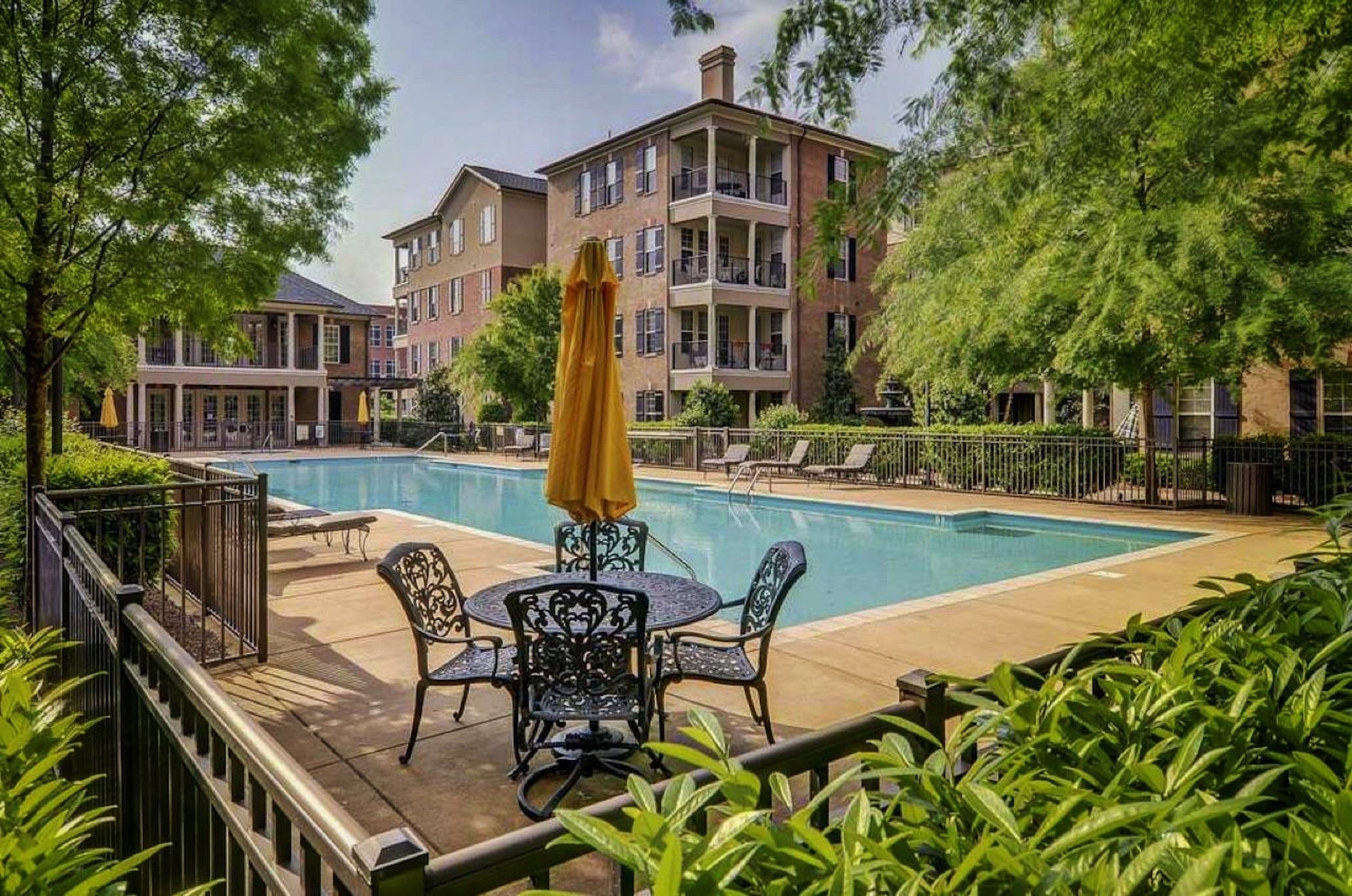 Lush landscaping around pool in Brentwood, TN