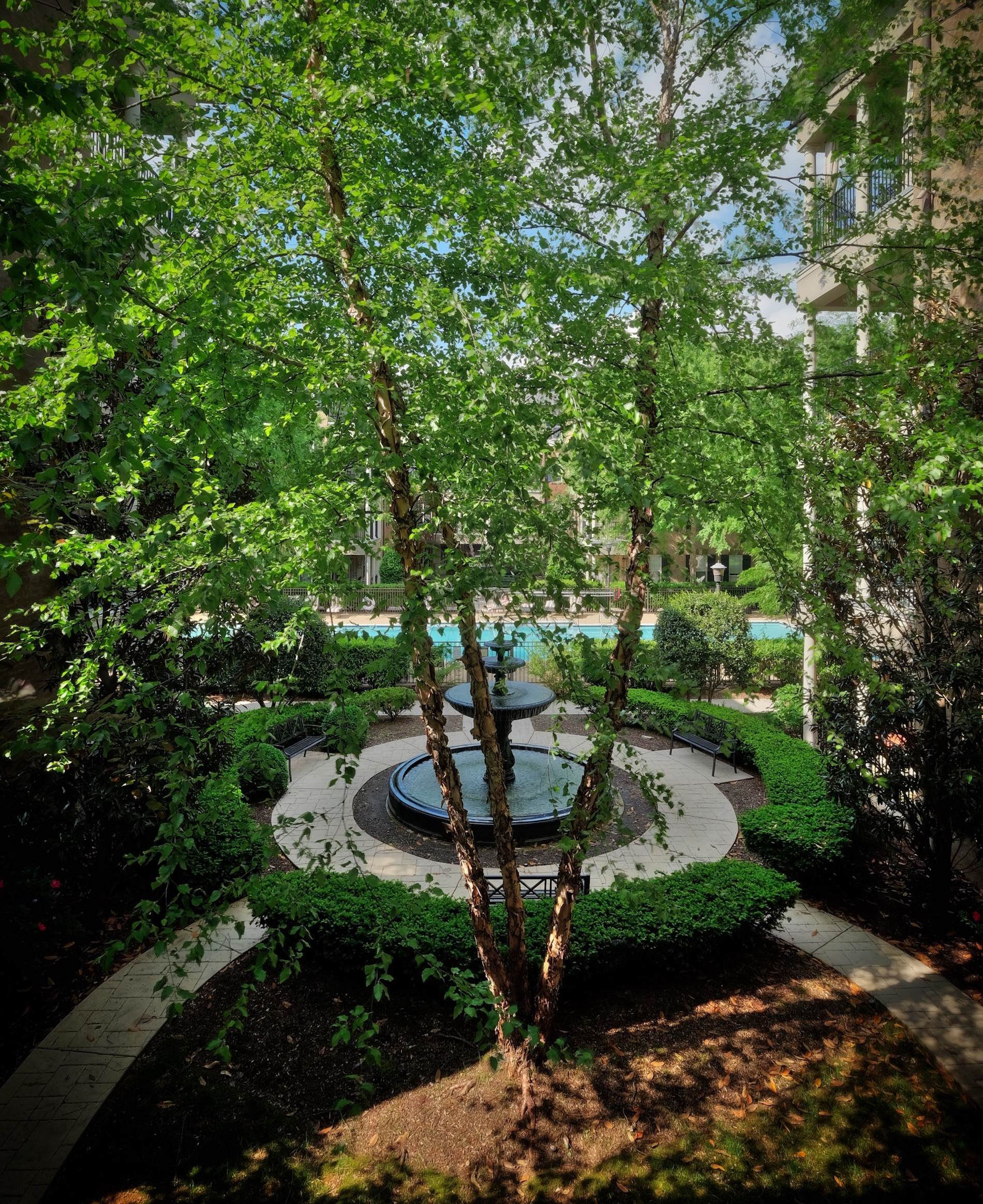 New Orleans style courtyard, lush landscaping, fountain, pool