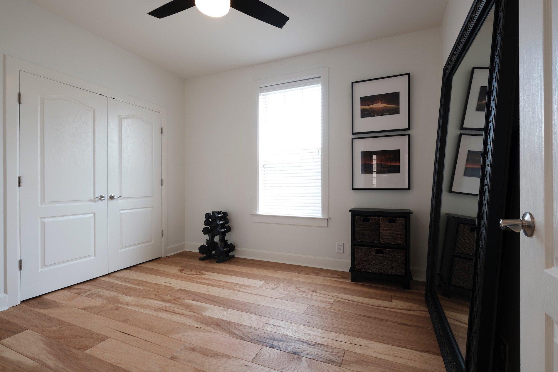 Sherwin Williams Premium White Paint, large mirror, yoga room