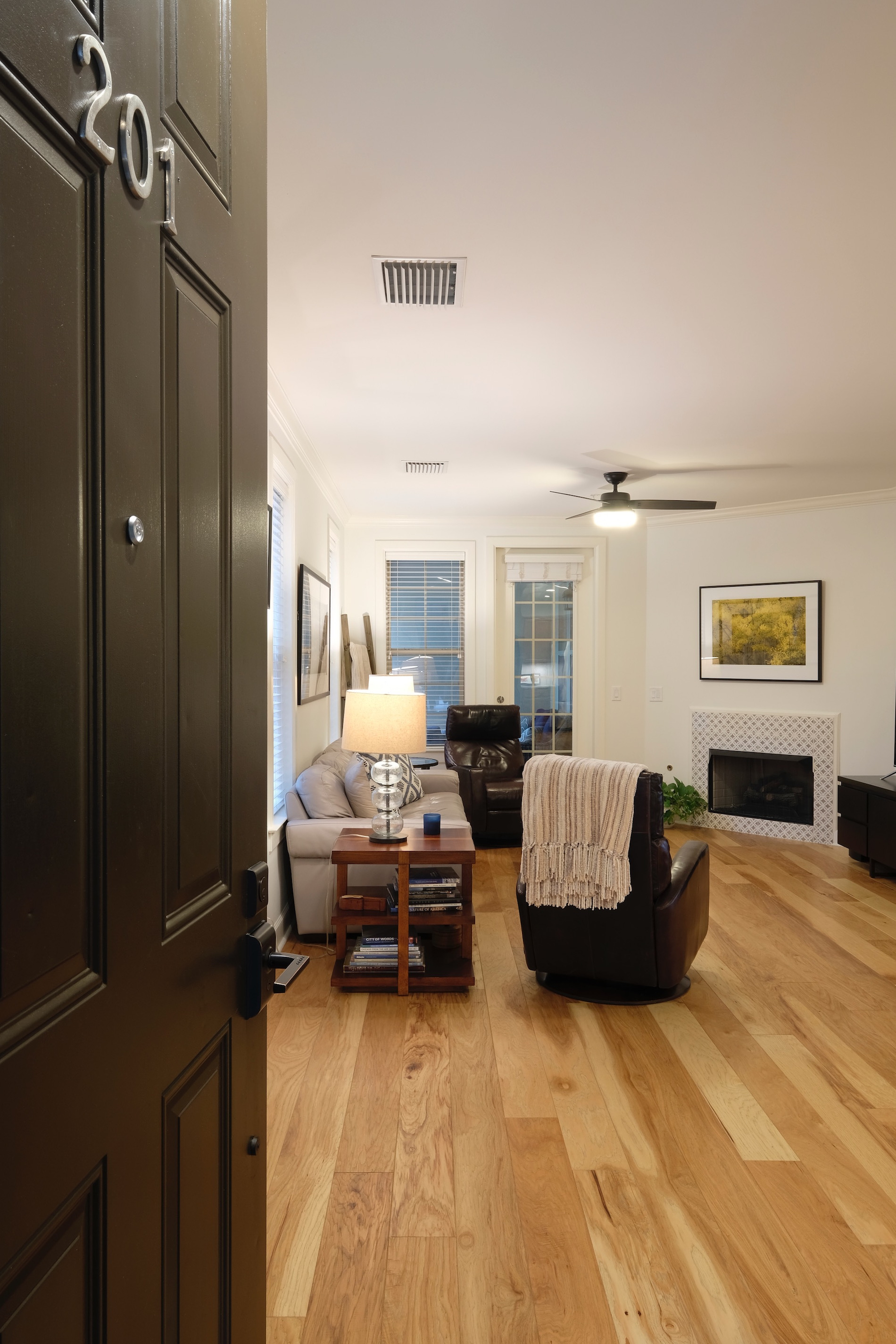 Welcome home, Brentwood TN condo, natural hickory hardwood floors, white paint, Sherwin Williams Premium