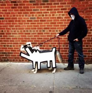 Banksy Dog Art DIY Cardboard Halloween Costume