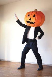 Cardboard Pumpkin Head Costume