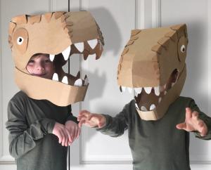 Cardboard dinosaur Halloween costumes