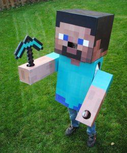 DIY Cardboard Minecraft Steve Halloween Costume