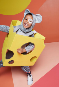 DIY Cardboard Mouse and Cheese Costume