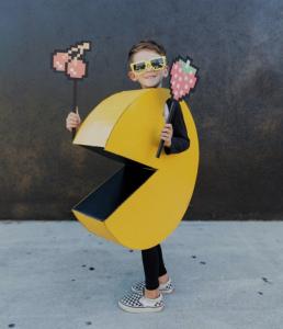 DIY Cardboard Pacman Halloween Costume