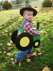 DIY Cardboard Tractor Farmer Halloween Costume