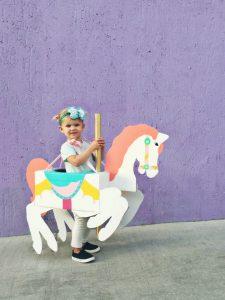 DIY cardboard carousel horse toddler costume