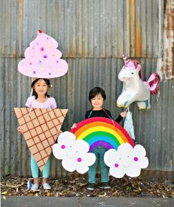 Ice Cream and Rainbow Cardboard DIY Halloween Costumes