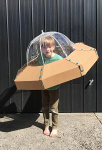 UFO spaceship cardboard costume