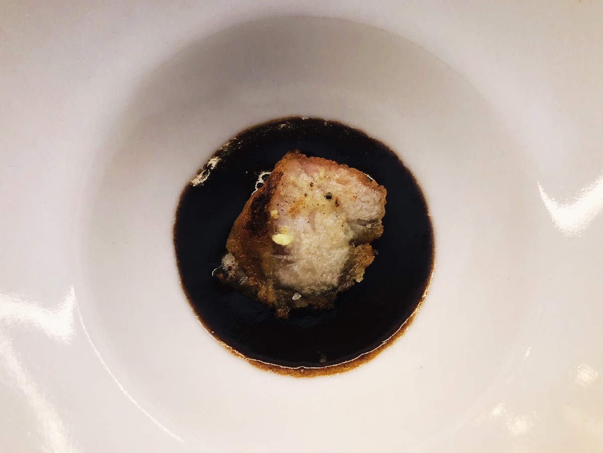 Beef heartbread and dried abalone gravy at Catbird Seat in Nashville, TN