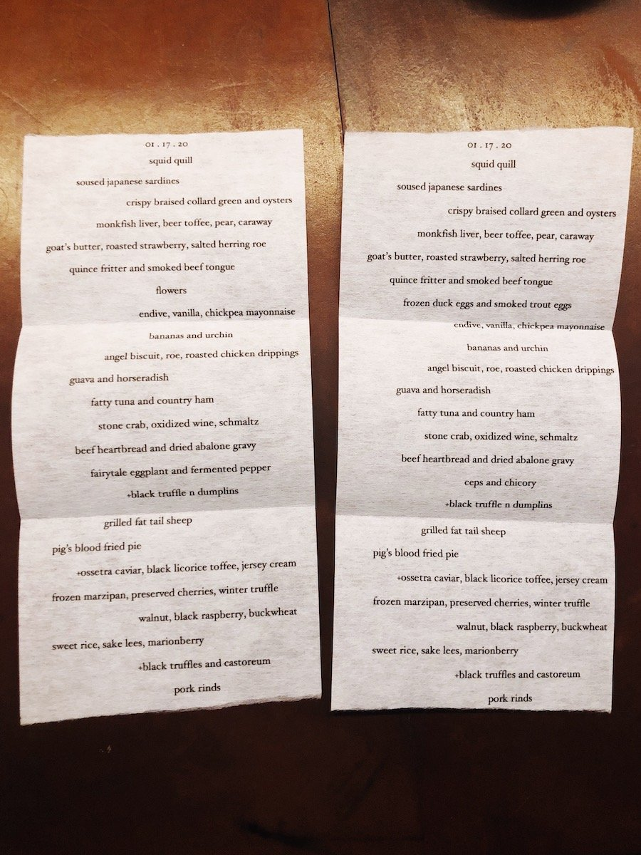 Customized Menus at The Catbird Seat, Nashville, TN
