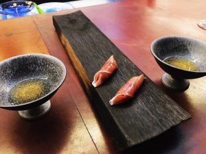 Fatty tuna and country ham with whiskey bourbon at Catbird Seat in Nashville
