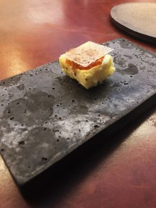 Frozen duck eggs and smoked trout eggs at Catbird Seat in Nashville