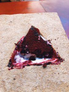 Walnut, black raspberry, buckwheat dessert at The Catbird Seat in Nashville, TN
