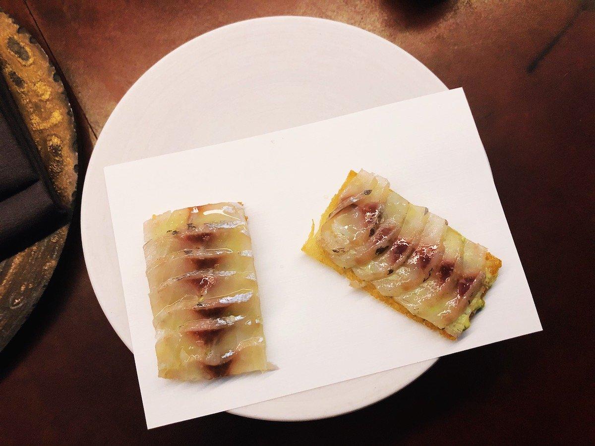 soused Japanese sardines at Catbird Seat in Nashville