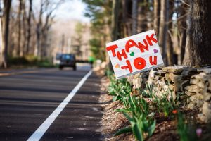 thank you sign on roadside for essential workers