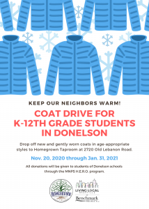 Coat Drive for K-12th Grade Students in Donelson