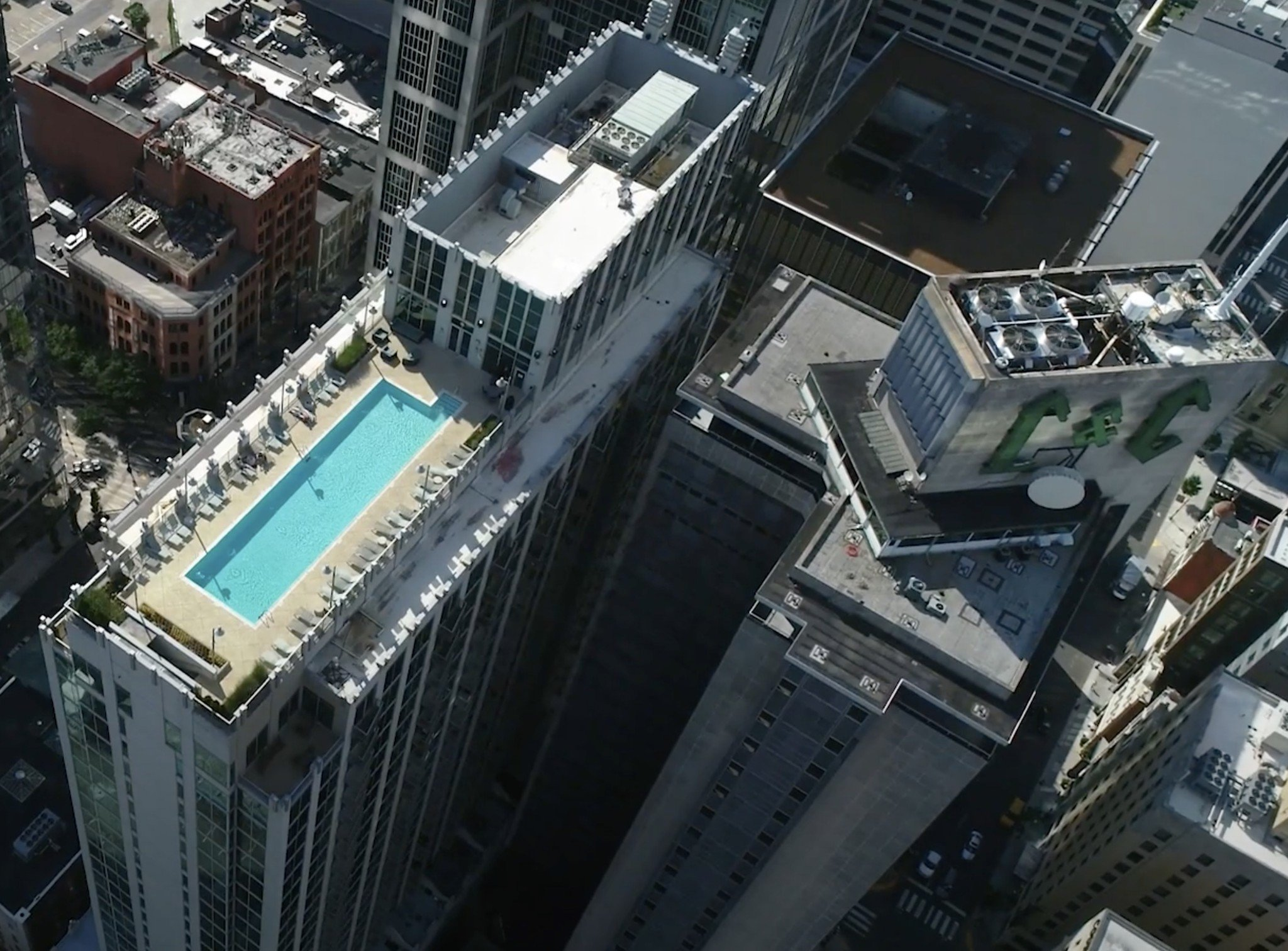 Aerial view of Viridian Condos in Downtown Nashville, TN