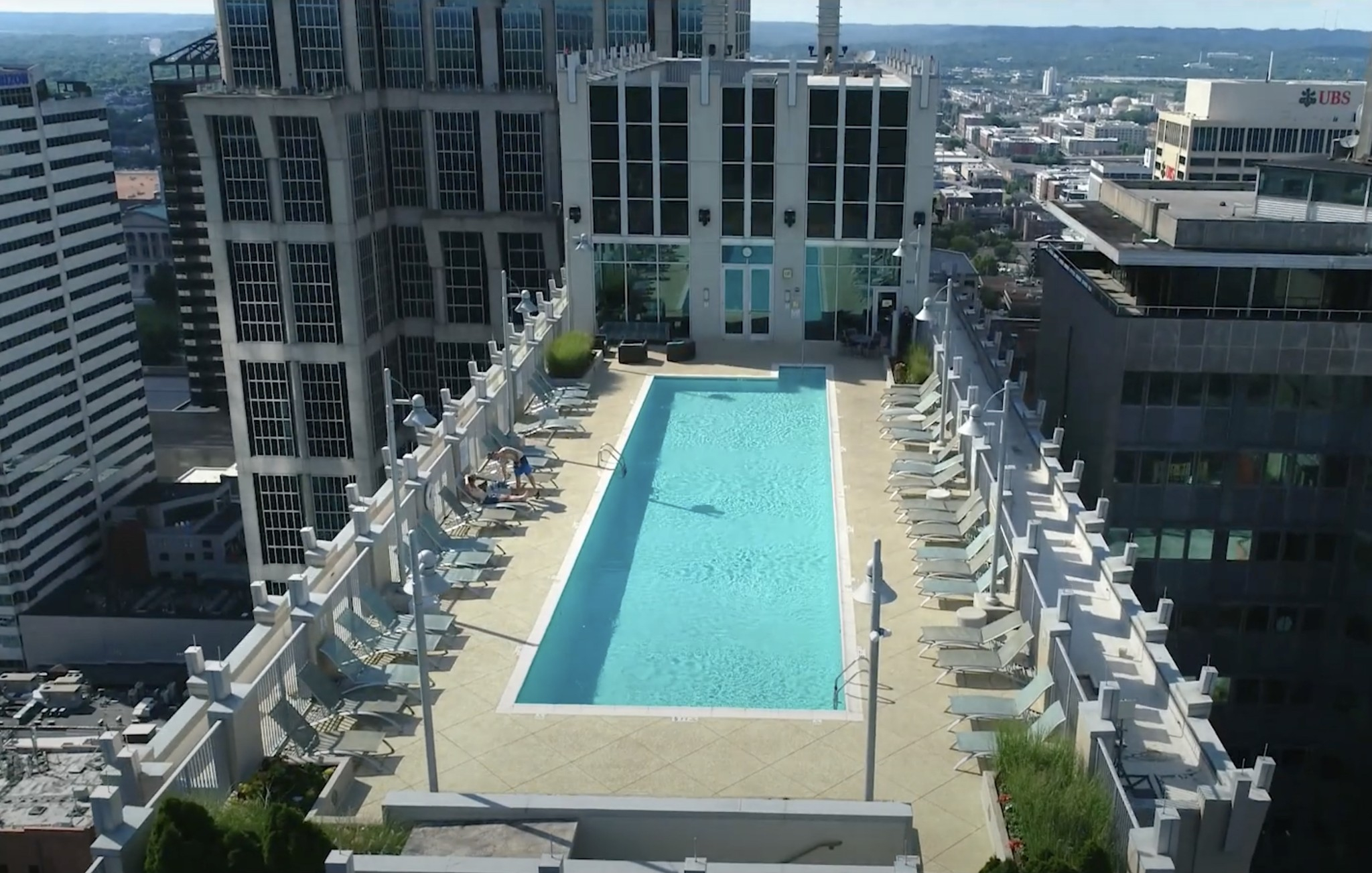 Aerial view of Viridian pool in downtown Nashville