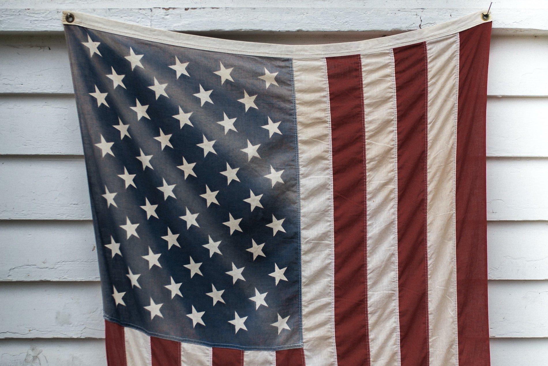 American flag displayed on house